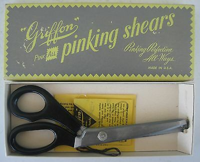 Vintage Griffon Pink All Pinking Shears Model #2 in Original Box w/ Instructions