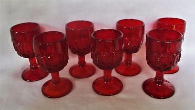 lot of 7  L. G. Wright Moon and Star Juice or Wine or Cordial Stemmed GOBLETS