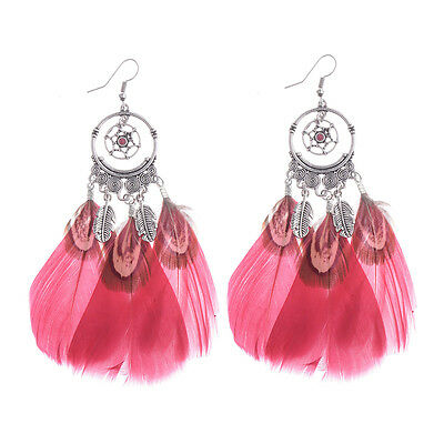 Pattern Hollow Party Bohemian Ethnic Style Women Feather Earrings Gift Jewelry
