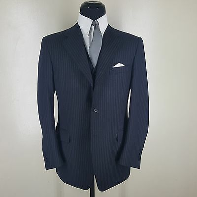 Canali Blue Striped Suit Jacket With Vest -No Pants-3 Btn. Side Vents 42 Reg-