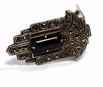 Coro  Sterling Silver / Onyx and  Marcasite Dress/Scarf Clip / Art Deco