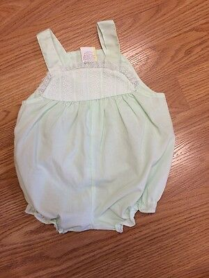 Vintage Baby Girl 3-6 Months Doll Romper Lace Trim Green Cotton Blend Unbranded
