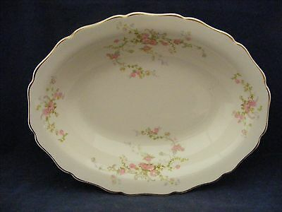 """Canonsburg Pottery Keystone Pink Roses Gold Trim 9.25"""" x 7"""" Oval Serving Bowl"""