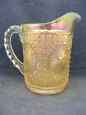 "Carnival Glass Pitcher 5 7/8"" Tall x 3 7/8"" Across White to Gold"