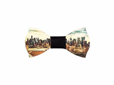 Ellys papillon in legno skyline New York Made in Italy