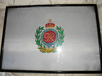"""Royal Engineers Embroidered Silk Framed And Glazed 20"""" X 14"""""""