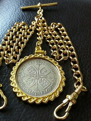 1936 Large Florin Fob Rolled Gold Double Pocket Watch Chain T Bar Dog Clips