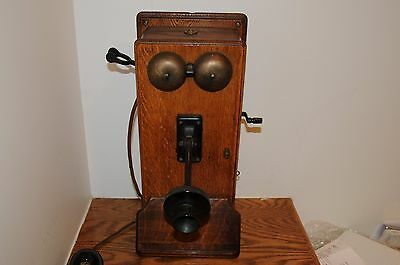 Antique Western Electric Oak Wall Mounted Crank Telephone Phone Vintage Crank ..