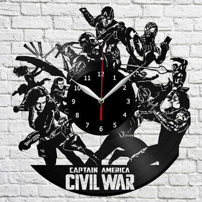 CAPTAIN AMERICA VINYL Record Wall Clock Fan Art Home Decor Original Gift  3843