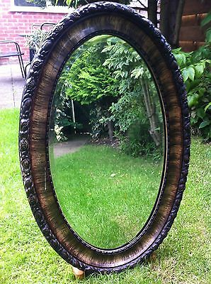 Late Victorian Antique Carved Oval Mirror