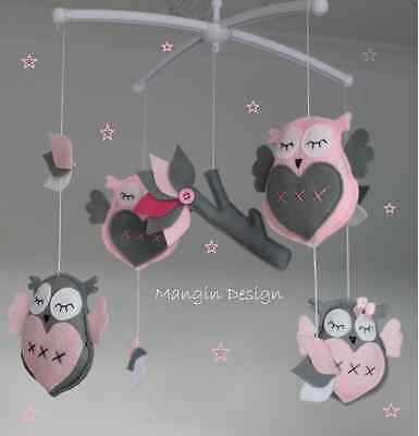 Sale! owl mobile musical cot mobile pink grey lilac white owl