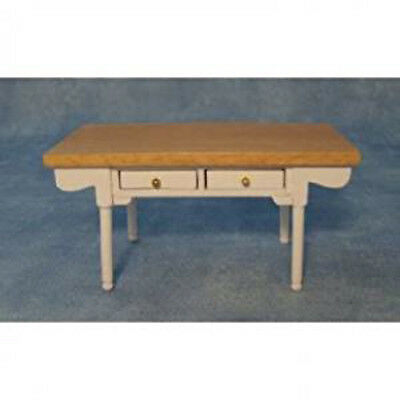 Dolls House Miniature 1:12th Scale White & Pine Kitchen Table