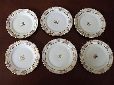 Lot Of 6 Vintage Antique Nippon Hand Painted Bread Plates w/ Gold Trim Roses