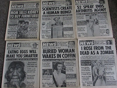 Lot Of 6 Vtg Original 1983 & 1989 Weekly World News Tabloid Magazines News Paper