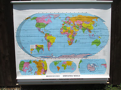 Rand McNally Classroom School Wall Pull down Map US World roll Simplified 65