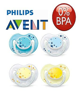 Baby Soother Dummy Nipple Philips Avent Night Time 0-6m / 6-18m 2x Pacifier