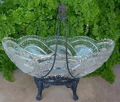 Antique Tufts Centerpiece Bowl Basket Silverplate Stand Oval ABP Glass Bowl