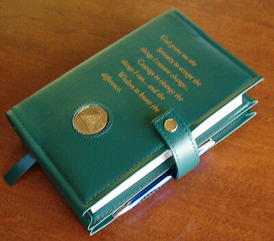 Alcoholics Anonymous AA Big Book &12 and 12 Deluxe Serenity Green SOBER Cover