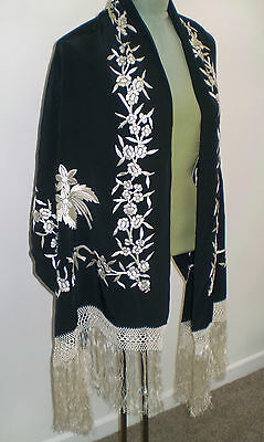 Vintage BLACK SILK SHAWL with WHITE Hand Embroidered FLOWERS & Long Fringe