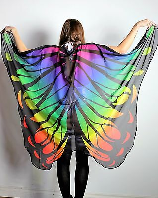 Rainbow Ombre Butterfly Wings Rave Cape