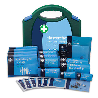 Catering First Aid Kit Masterchef ALL BLUE DRESSINGS HSE 10 with Wall Bracket