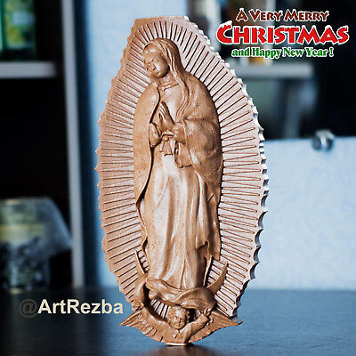 "Our Lady of Guadalupe 3D Art Orthodox Wood Carved Icon - Gift. (10""x5.38"")"