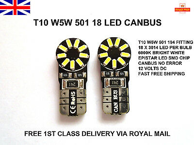 2X T10 501 Wedge Canbus 18 Led Bright Xenon White Light Bulbs Lamps W5W 194 12V