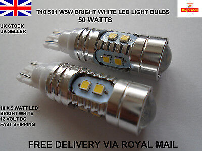 2x 50W T10 501 Wedge Bright Xenon White Light Bulbs Lamps Cree Led Smd W5W 194