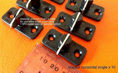 STAYPUT FASTENERS HORIZONTAL SINGLE BLACK TOGGLES x 10 for eyelet boat covers