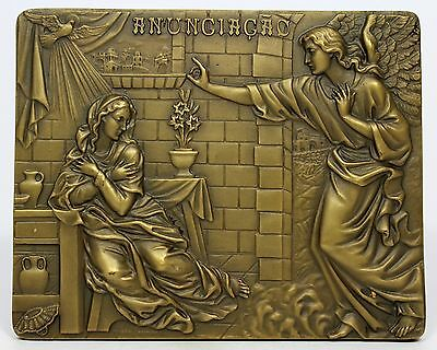 BRONZE MEDAL / PLAQUE / RELIGIOUS / Annunciation / VIRGIN MARY AND ANGEL GABRIEL