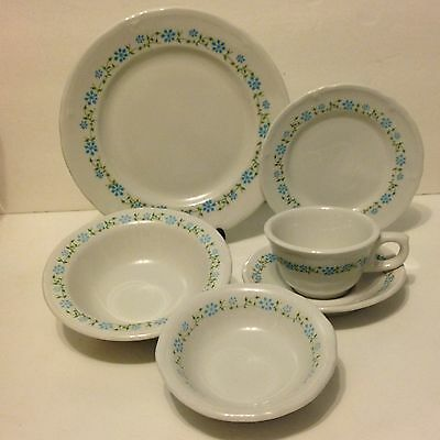 Vintage Shenango Restaurant Ware Blue CornFlower 6 Piece Place Set 48 Piece Lot