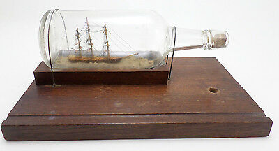 Vintage Hand Made Folk Art Ship In a Liquor Bottle Desk Set Large Wooden Base
