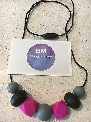 Silicone Sensory (was teething) Necklace for Mum Baby Shower Gift Aus Sell Pink