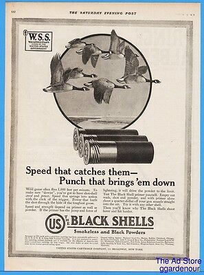1918 United States Cartridge Co Black Shells Duck Hunting Shotgun WSS Print Ad
