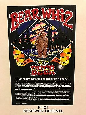BEAR WHIZ BEER ~ VINTAGE ~ SET OF 6 ~ New Old Stock ~ Poster Advertising Sign