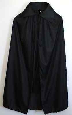 Adult Black Red Cape Cloak Robe Halloween Vampire Witch Wizard Fancy Costume
