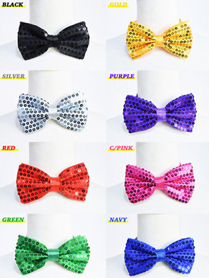 Glitter Sequin Clip-on Bowtie Men Women Boys Girls Bow Tie Party Dance Costume