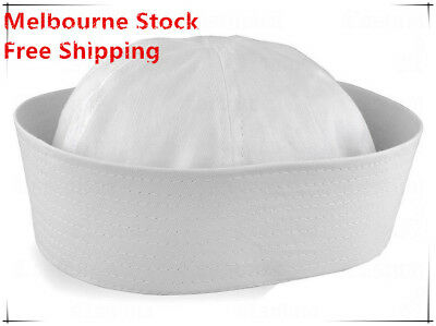 Adult Unisex White Sailor Navy Hat Gob Boat Captain Hen's Night Marine Doughboy