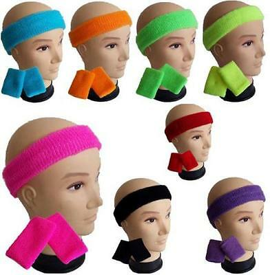 Sports Sweatbands Wristband Headband Set Tennis Gym Yoga Neon Fluro 80s Cotton