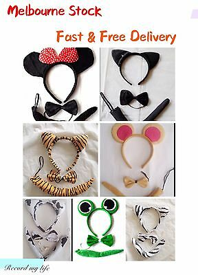 Animal Set 3 Piece Ear Ears Bowtie Bow Tie Tail Headband Cosplay Costume Adults