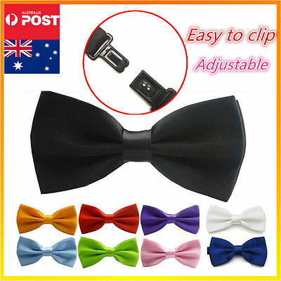 Mens Bow Tie Bowtie Black Red Wedding Tuxedo Formal Party Pretied Necktie Boy
