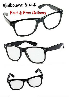 Classic Retro Glasses - Black Frame / Clear Lens - Nerd - FREE POST AUS