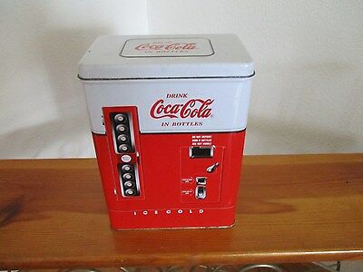 Coca Cola Vending Machine Tin Drink Coke in Bottles with Hinged Lid
