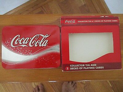 Vintage Coca Cola Collector Tin and 2 Decks of Playing Cards