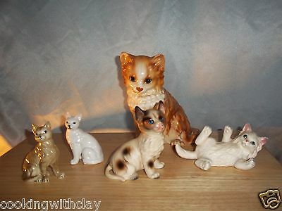 Lot Of 5 Detailed Decorative Vintage Cat Figures 2 Lefton Japan 3 Unknown