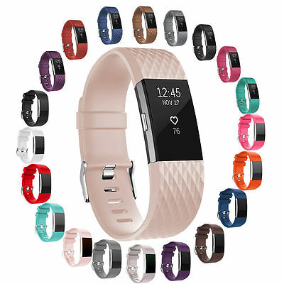 FOR Fitbit CHARGE 2 Replacement Silicone Rubber Bands Strap Wristband Bracelet