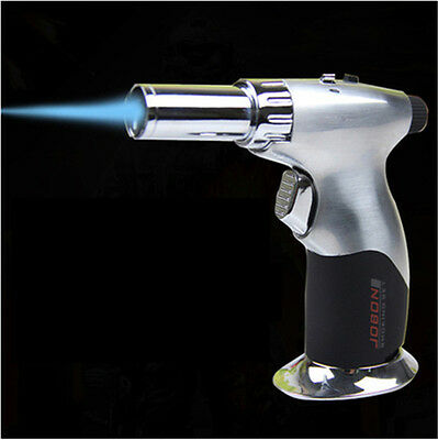 Silver Windproof Butane Steel Adjustable Flame Cigar Jet Torch Lighter JOBON