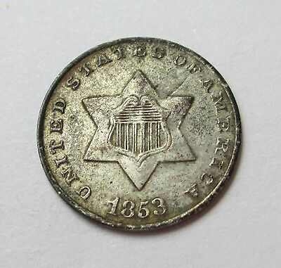NICE! 1853 US Silver 3 Cent Piece