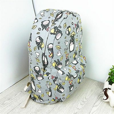 Anime My Neighbor Totoro Studio Ghibli School Shoulder Bags Gray Canvas Backpack