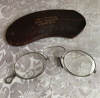 Antique Pinch On Eyeglasses With Advertising Case Albany NY